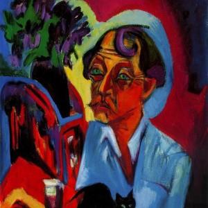 Ernst Ludwig Kirchner - Il pittore Stirner con gatto
